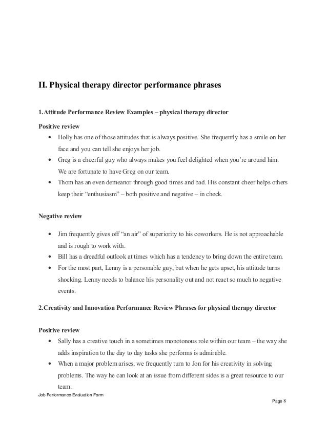 Physical therapy director performance appraisal – Sample Physical Therapy Evaluation