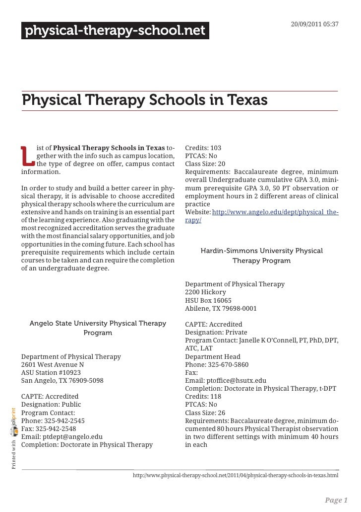 20/09/2011 05:37                 physical-therapy-school.net                Physical Therapy Schools in Texas             ...