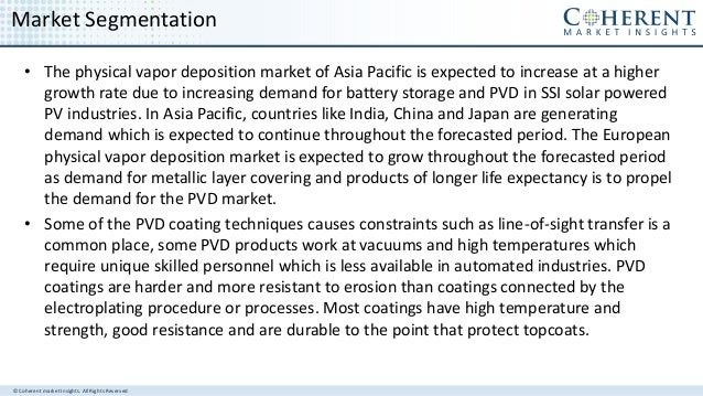 © Coherent market Insights. All Rights Reserved Market Segmentation • The physical vapor deposition market of Asia Pacific...