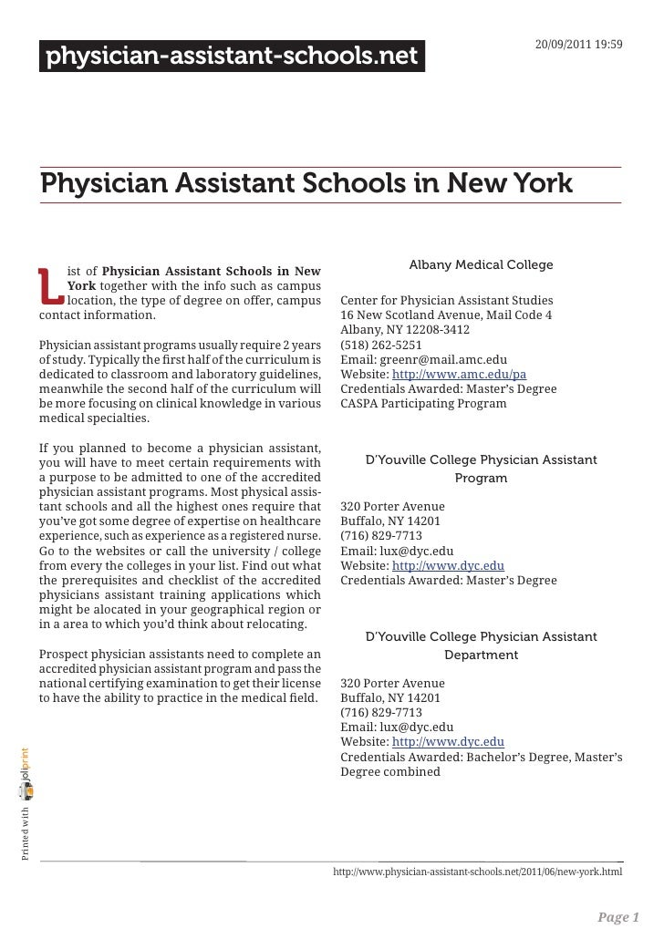 Physician Assistant Programs In Ny >> Physician Assistant Schools In New York