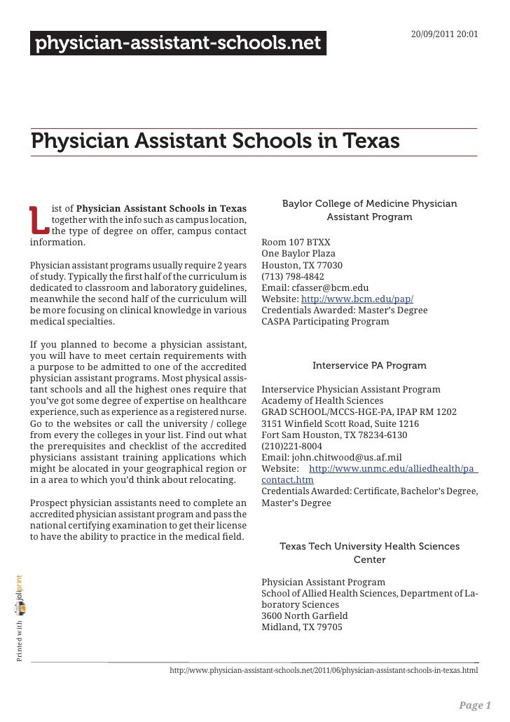 20/09/2011 20:01                 physician-assistant-schools.net                Physician Assistant Schools in Texas      ...