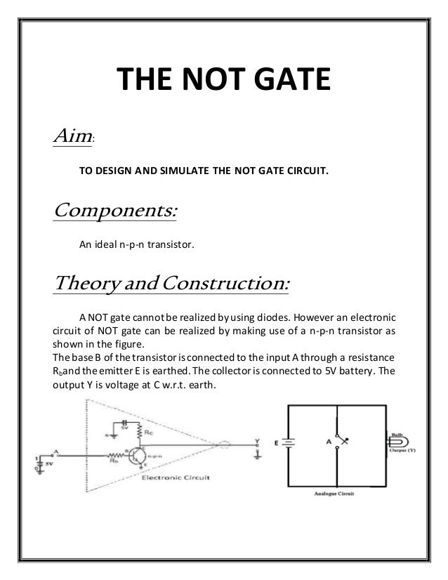 how to make not gate