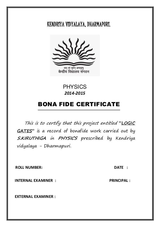 Bonafide certificate sample for school project gallery bonafide certificate sample for school project choice image certificate format for physics project images certificate design yadclub Images