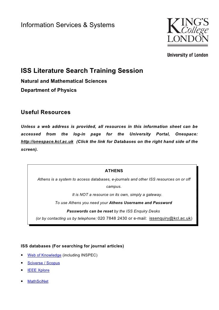 Information Services & SystemsISS Literature Search Training SessionNatural and Mathematical SciencesDepartment of Physics...