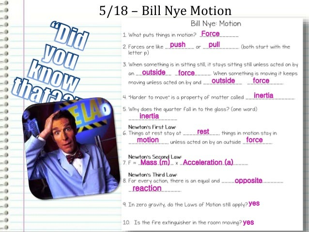 Physics Newtons Laws and Force – Bill Nye Motion Worksheet
