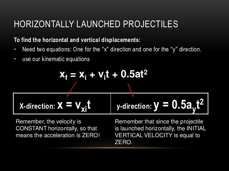 """HORIZONTALLY LAUNCHED PROJECTILESTo find the horizontal and vertical displacements:• Need two equations: One for the """"x"""" d..."""