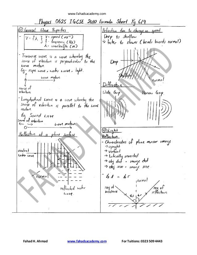 Physics 0625 formula and help sheet fahadsacademy