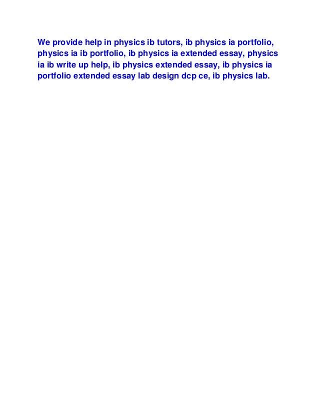 Ib physics extended essay