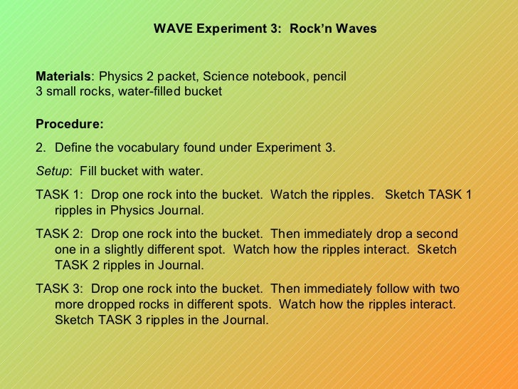 water wave experiment physics