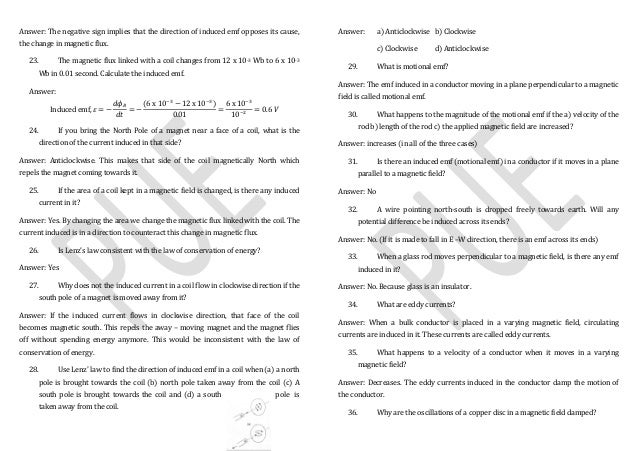 Physics Chapter wise important questions II PUC