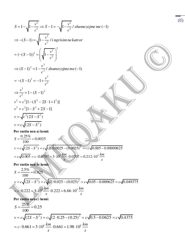 """Zgjidhja e detyrave te kapitullit """"Fizika Relativiste"""" te"""