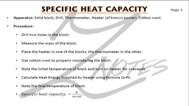 lab: specific heat capacity essay Ah can be found by multiplying the mass of hydrochloric acid, the specific heat of hci, and at of the hydrochloric acid then dividing it by the moles of zinc related essays lab report.