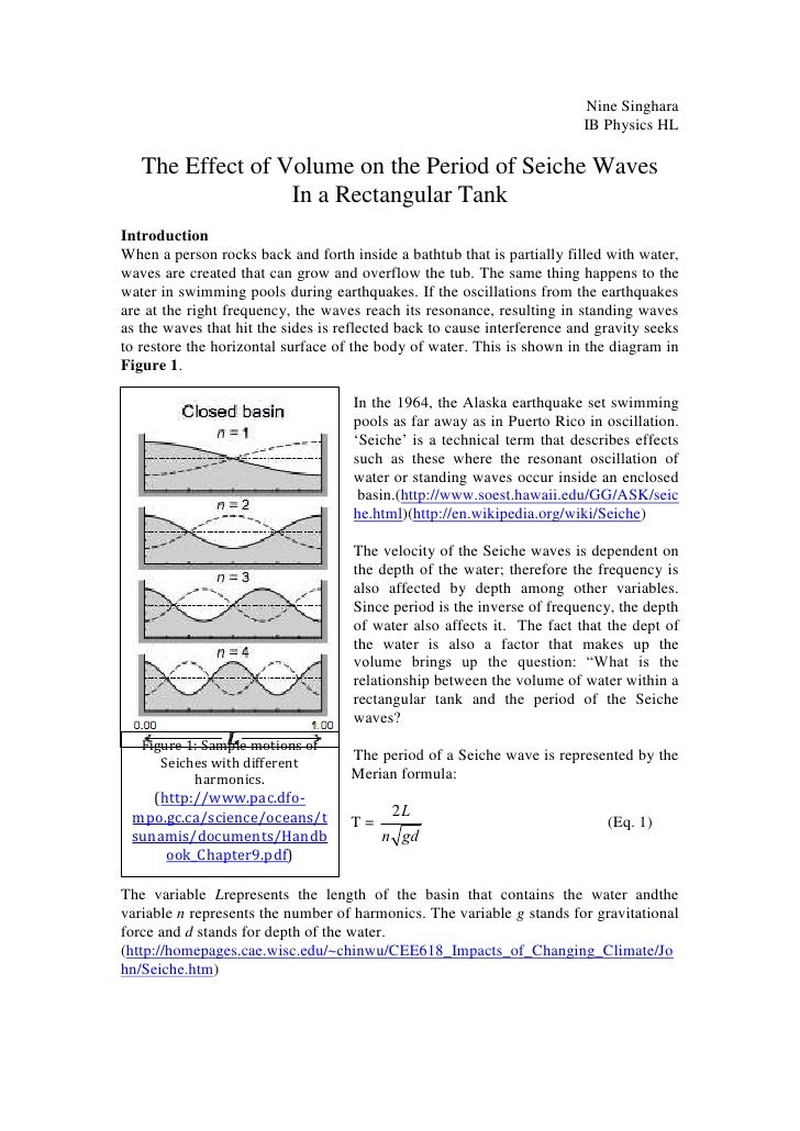 Nine Singhara                                                                         IB Physics HL   The Effect of Volume...