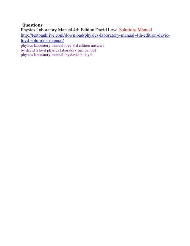 david loyd physics laboratory manual solutions rh emailcanvas com br Example Physics Lab Manual Physics Textbook