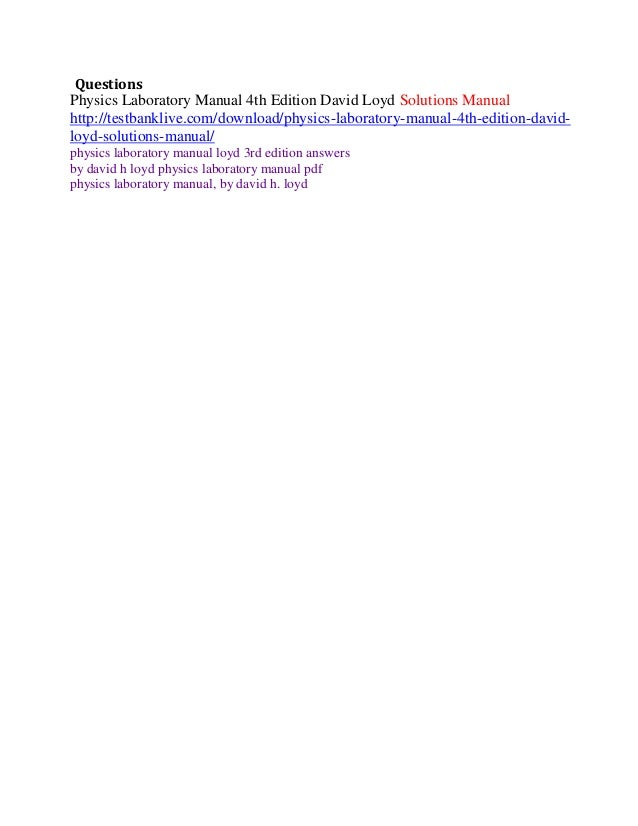 physics laboratory manual 4th edition david loyd solutions manual rh slideshare net Chemistry Laboratory Biology Laboratory
