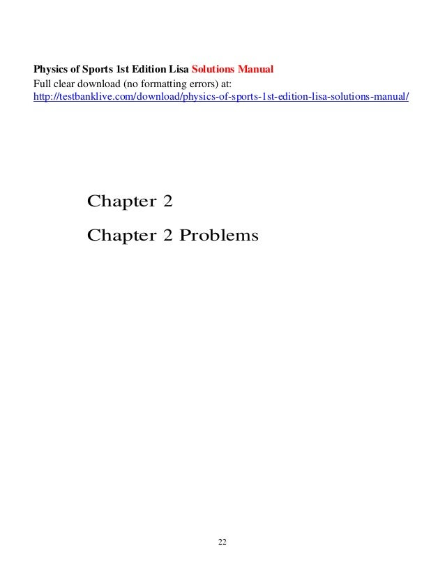 Physics of sports 1st edition lisa solutions manual