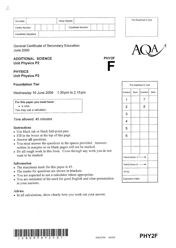 GCSE Physics P2 Exam Jan 2009