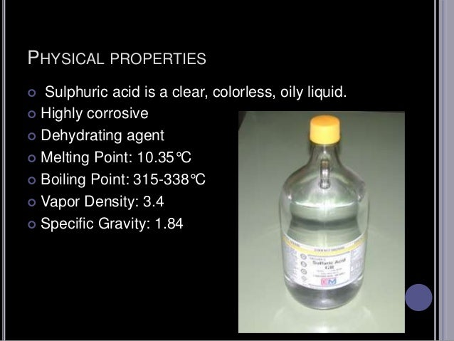 Chemical Properties Of Sulphuric Acid