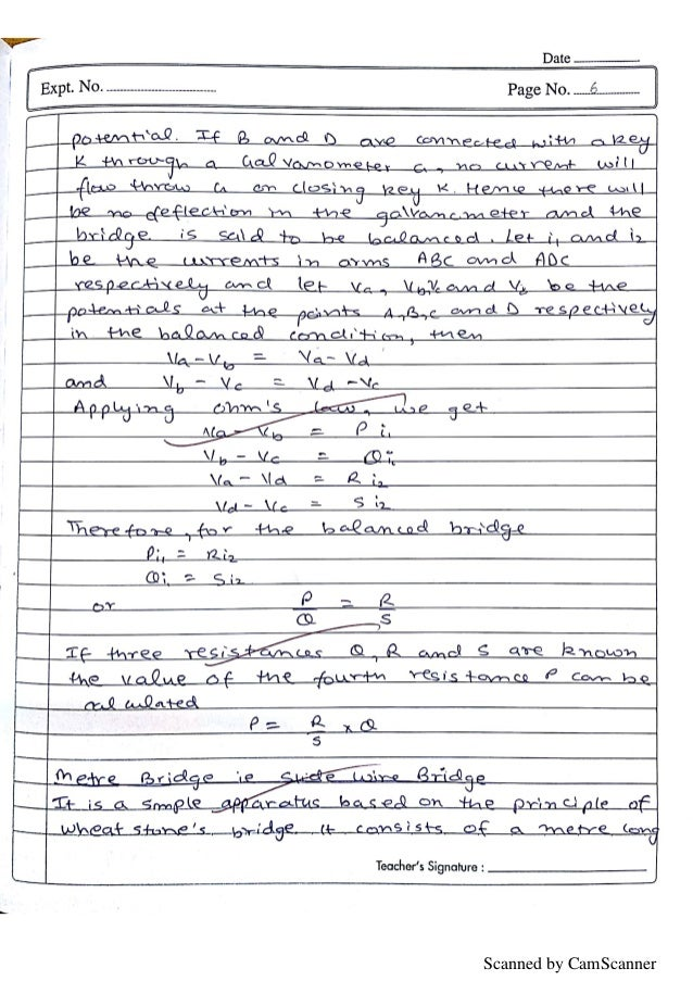 Physics Practical File - with Readings   Class 12 CBSE