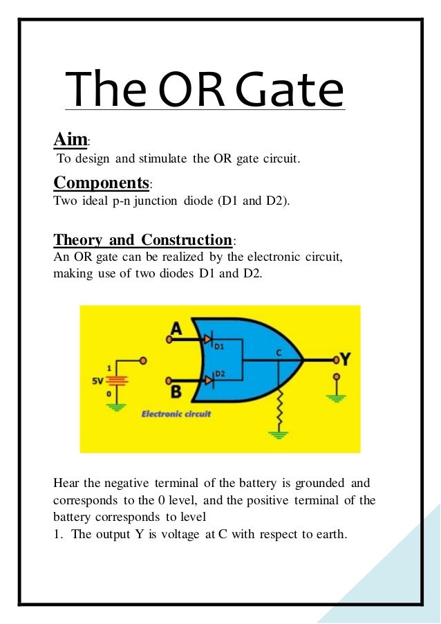 physics investigatory project class 12 logic gatesElectronic Circuit Of Or Gate #20