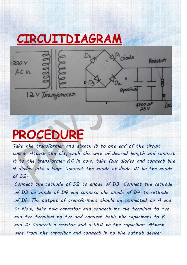 WORKING When the AC is supplied to the transformer, it step down the 240V Main supply to 12V.It has a capability of delive...
