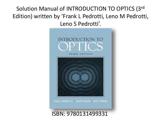 solution manuals of physics textbooks rh slideshare net Pedrotti's Ranch Pedrotti's North Wind Ranch