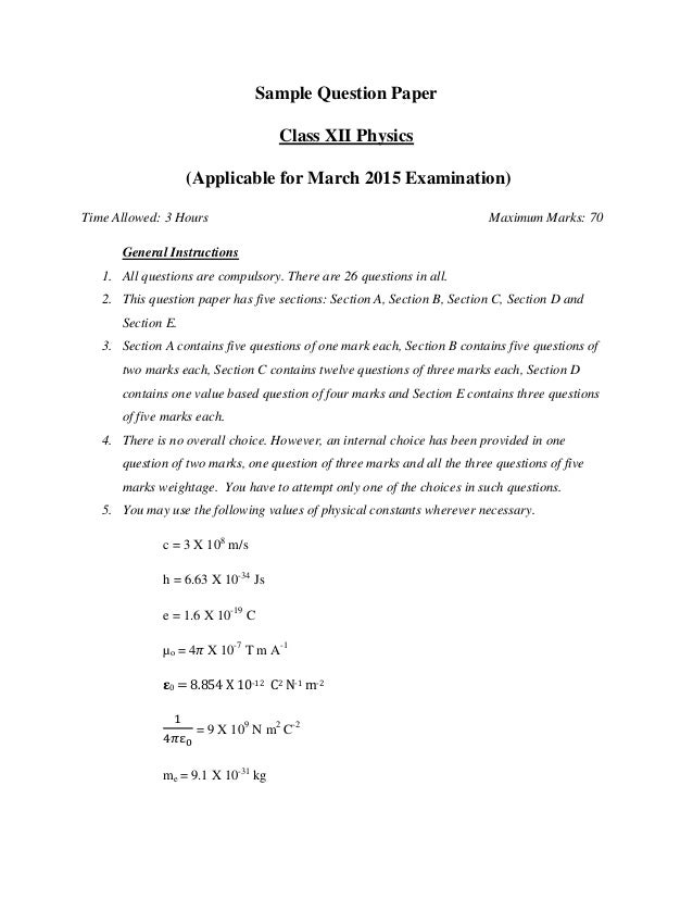 Cbse sample paper 2015 of class xii physics sample question paper class xii physics applicable for march 2015 examination time allowed malvernweather