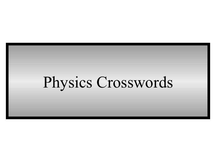 Physics Crosswords