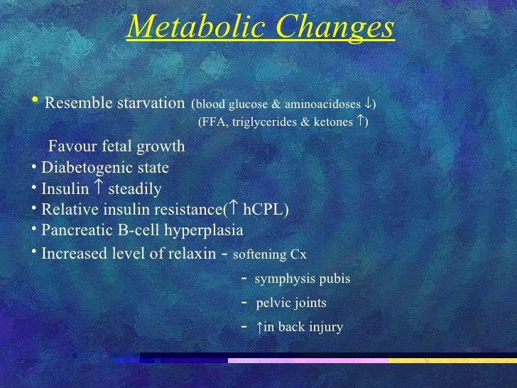 <ul><li>Metabolic Changes </li></ul><ul><li>Resemble starvation   ( blood glucose & aminoacidoses   </li></ul><ul><li>...