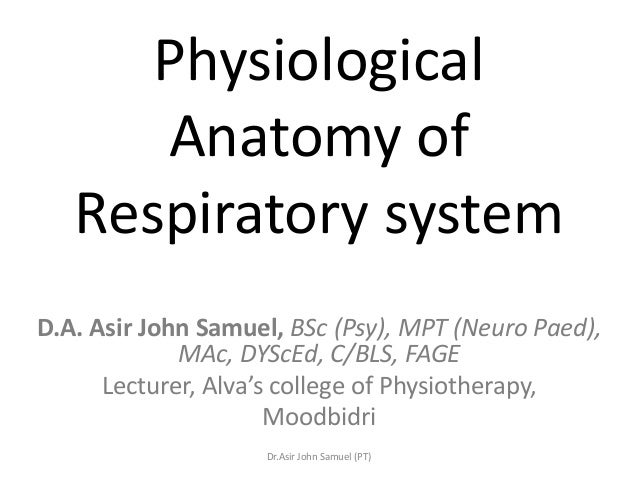 Physiological      Anatomy of   Respiratory systemD.A. Asir John Samuel, BSc (Psy), MPT (Neuro Paed),             MAc, DYS...