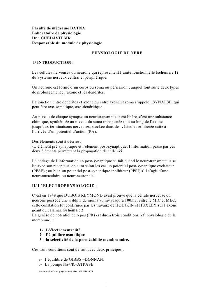 Faculté de médecine BATNA Laboratoire de physiologie Dr : GUEDJATI MR Responsable du module de physiologie                ...