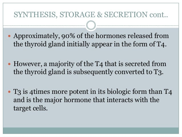 SYNTHESIS, STORAGE & SECRETION cont..  Approximately, 90% of the hormones released from the thyroid gland initially appea...