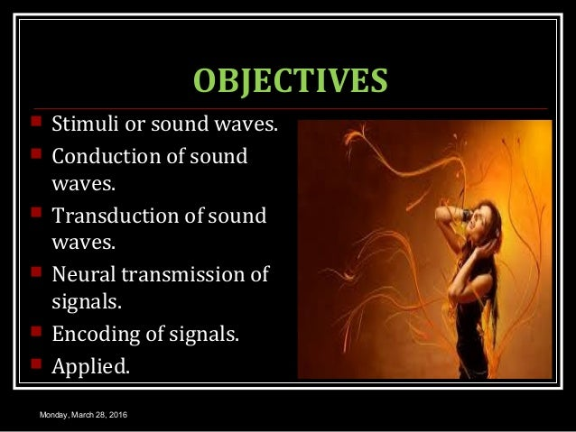OBJECTIVES  Stimuli or sound waves.  Conduction of sound waves.  Transduction of sound waves.  Neural transmission of ...