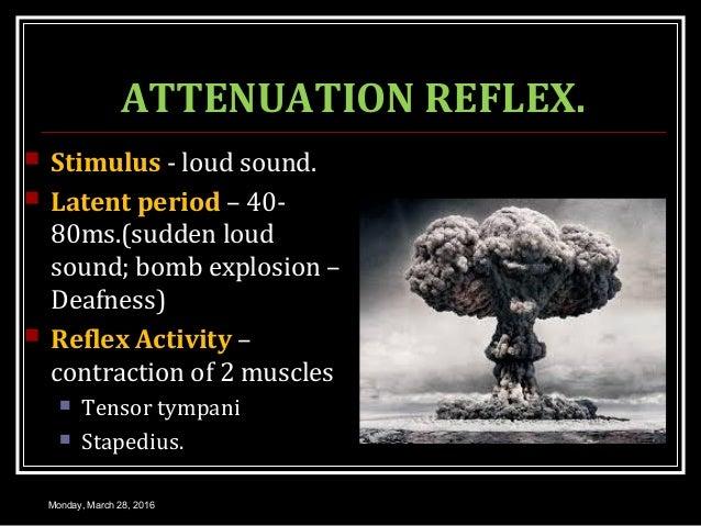ATTENUATION REFLEX.  Stimulus - loud sound.  Latent period – 40- 80ms.(sudden loud sound; bomb explosion – Deafness)  R...