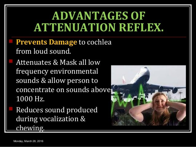 ADVANTAGES OF ATTENUATION REFLEX.  Prevents Damage to cochlea from loud sound.  Attenuates & Mask all low frequency envi...