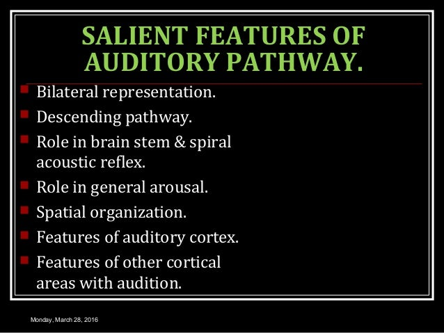 SALIENT FEATURES OF AUDITORY PATHWAY.  Bilateral representation.  Descending pathway.  Role in brain stem & spiral acou...