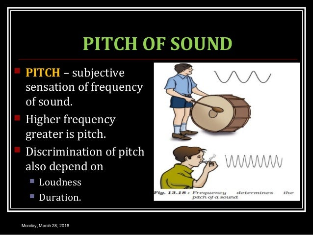 PITCH OF SOUND  PITCH – subjective sensation of frequency of sound.  Higher frequency greater is pitch.  Discrimination...
