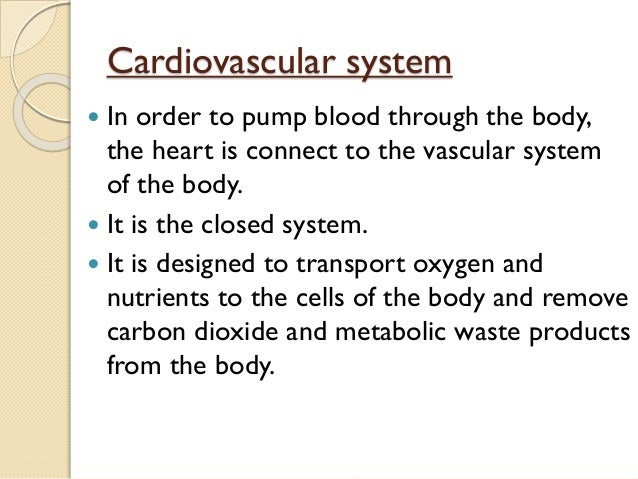 Cardiovascular system  In order to pump blood through the body, the heart is connect to the vascular system of the body. ...