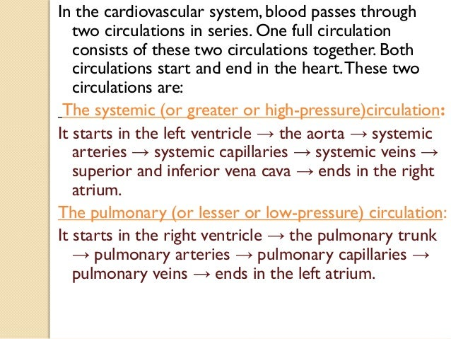 In the cardiovascular system, blood passes through two circulations in series. One full circulation consists of these two ...