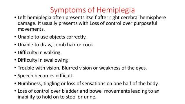 3 symptoms of hemiplegia