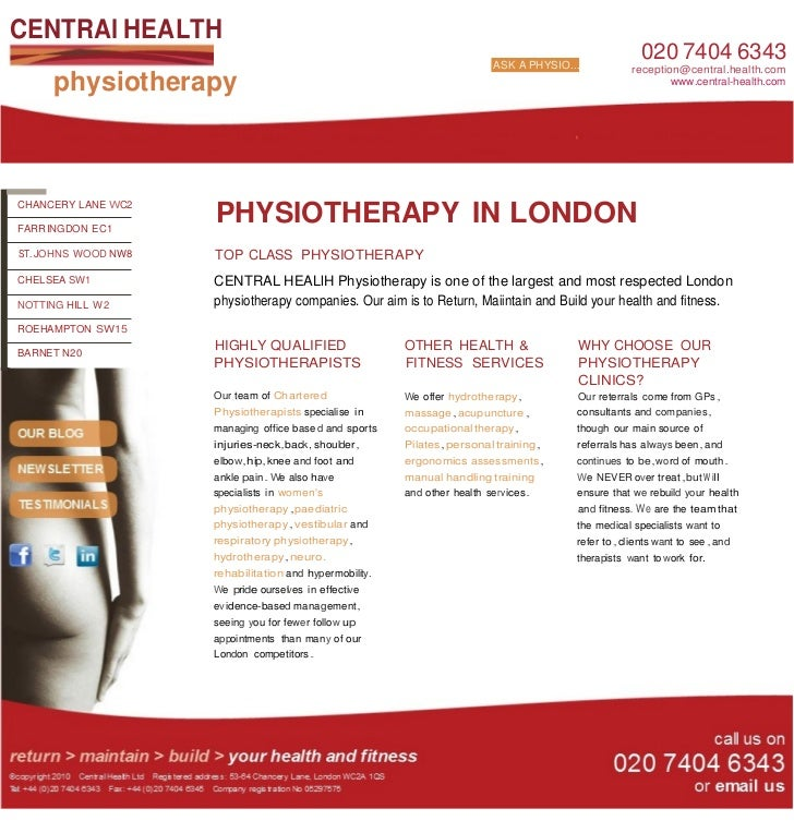 CENTRAl HEALTH                                                                           ASK A PHYSIO...                  ...