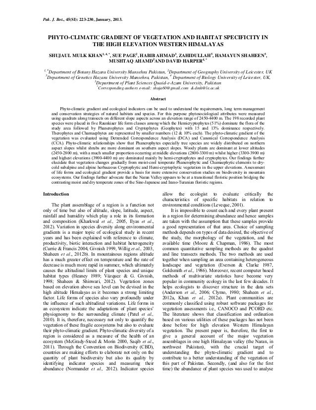 Pak. J. Bot., 45(SI): 223-230, January, 2013.     PHYTO-CLIMATIC GRADIENT OF VEGETATION AND HABITAT SPECIFICITY IN        ...