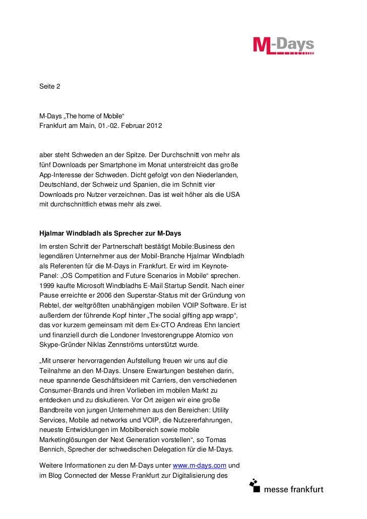 """Seite 2M-Days """"The home of Mobile""""Frankfurt am Main, 01.-02. Februar 2012aber steht Schweden an der Spitze. Der Durchschni..."""