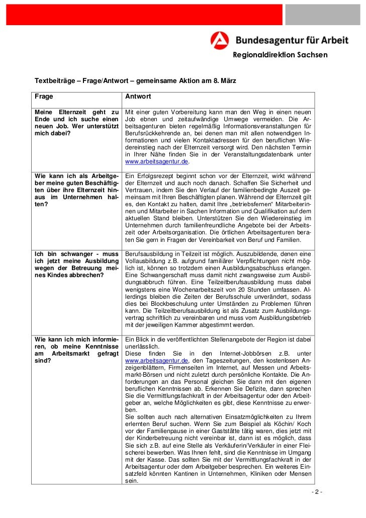 Regionaldirektion SachsenTextbeiträge – Frage/Antwort – gemeinsame Aktion am 8. MärzFrage                           Antwor...