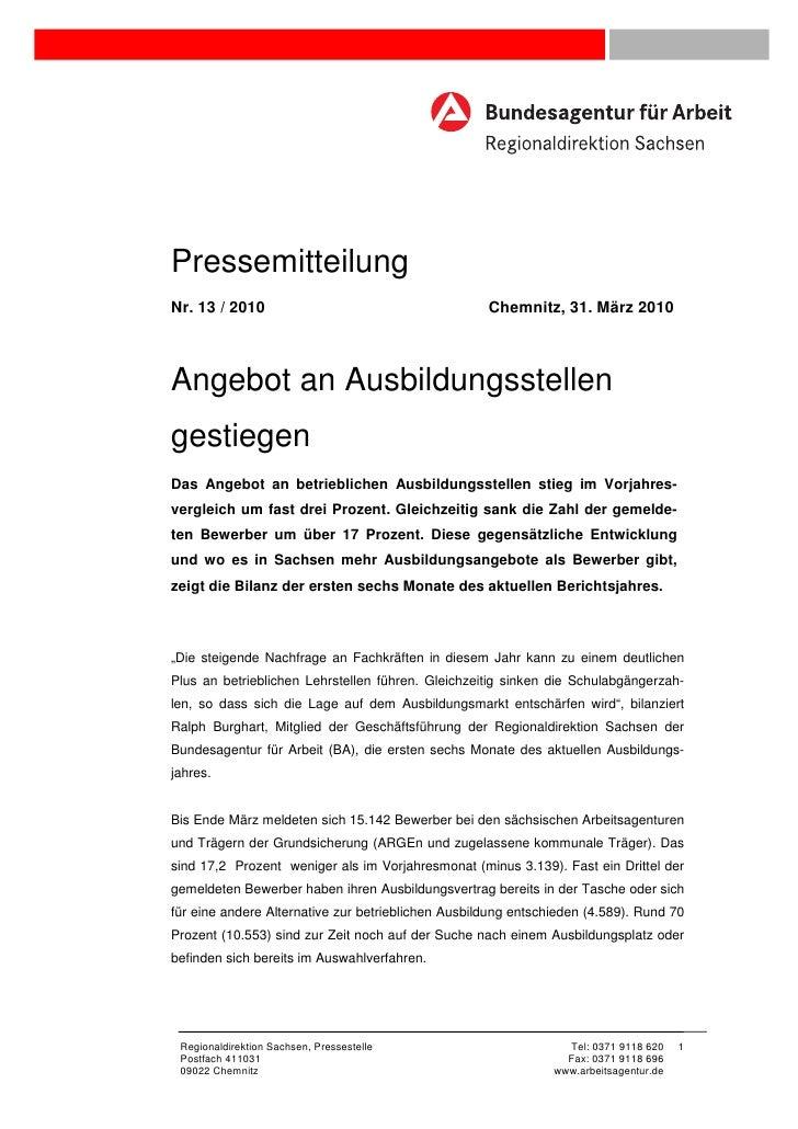 PressemitteilungNr. 13 / 2010                                       Chemnitz, 31. März 2010Angebot an Ausbildungsstellenge...