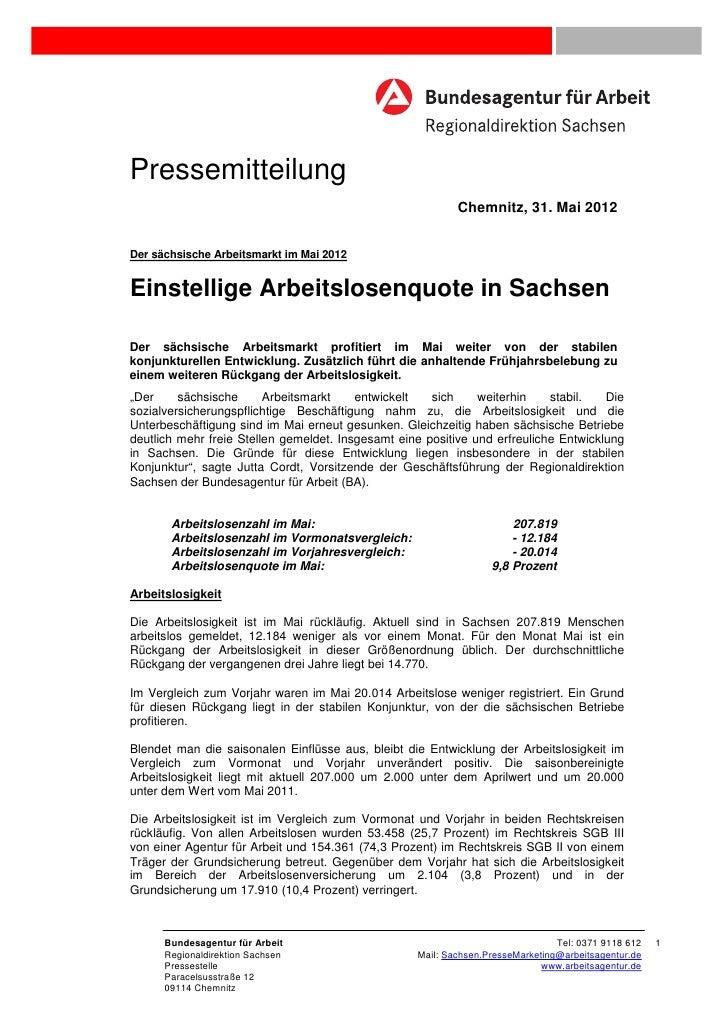 Pressemitteilung                                                           Chemnitz, 31. Mai 2012Der sächsische Arbeitsmar...
