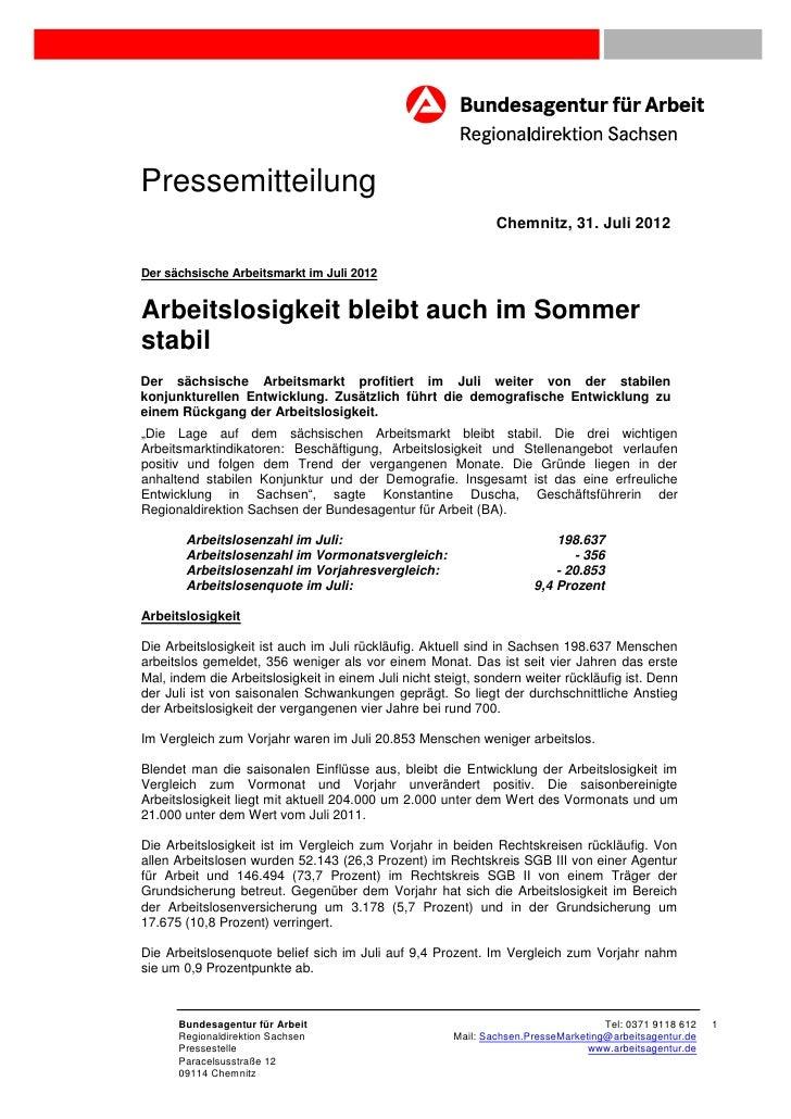 Pressemitteilung                                                               Chemnitz, 31. Juli 2012Der sächsische Arbei...