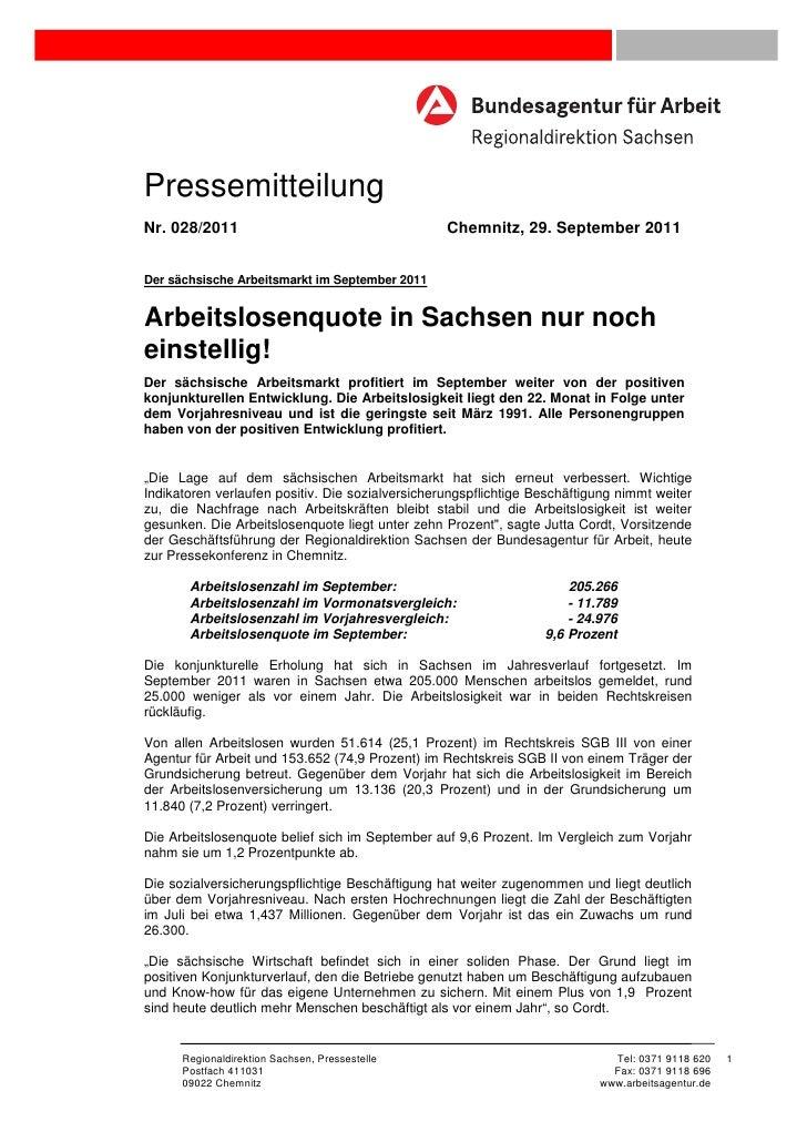 PressemitteilungNr. 028/2011                                      Chemnitz, 29. September 2011Der sächsische Arbeitsmarkt ...