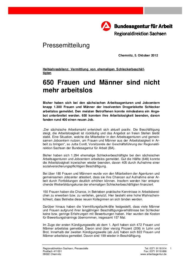 Pressemitteilung                                                      Chemnitz, 5. Oktober 2012Halbjahresbilanz: Vermittlu...