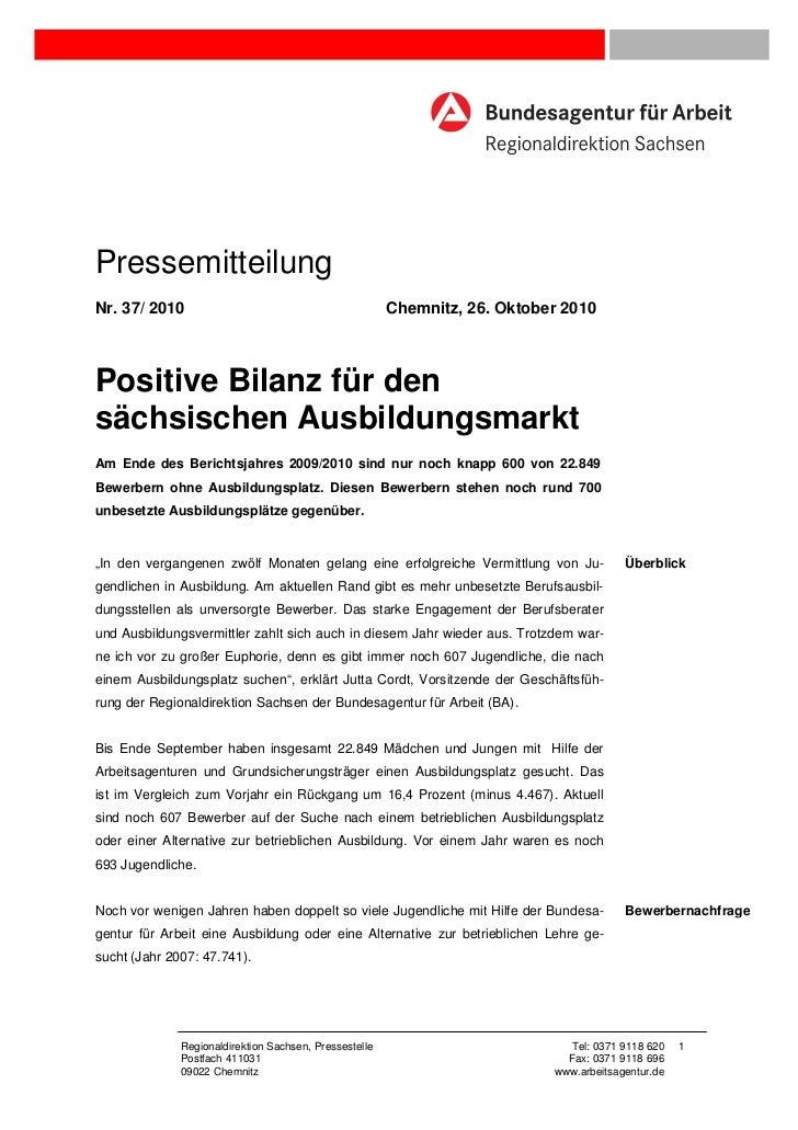 PressemitteilungNr. 37/ 2010                                            Chemnitz, 26. Oktober 2010Positive Bilanz für dens...